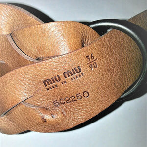 Miu Miu Accessories - MIU MIU BROWN BRAIDED LEATHER BELT SIZE 36/EURO 90